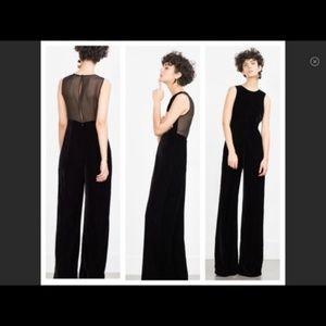 Black Velvet Sheer Back Zara Jumpsuit NWT